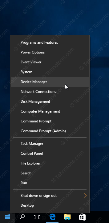 tehnotone.com Windows 10 Device Manager shortcut